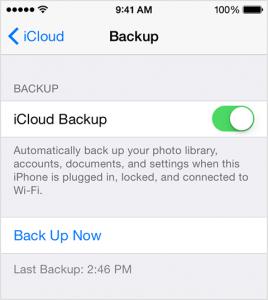 iOS 8 FAQ iCloud Back up