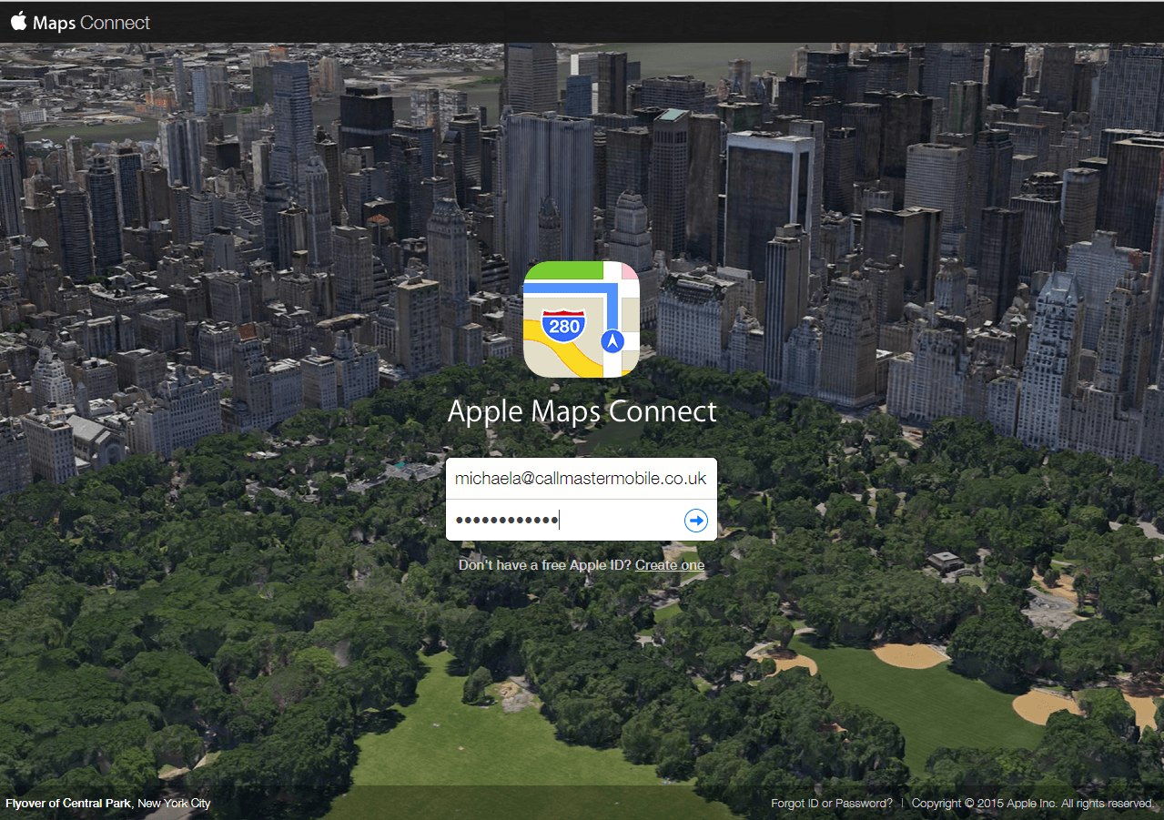 Sign in with new Apple ID Apple Maps Connect