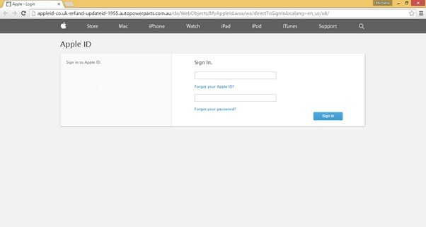 Scam emails posing as Apple - fake apple login page