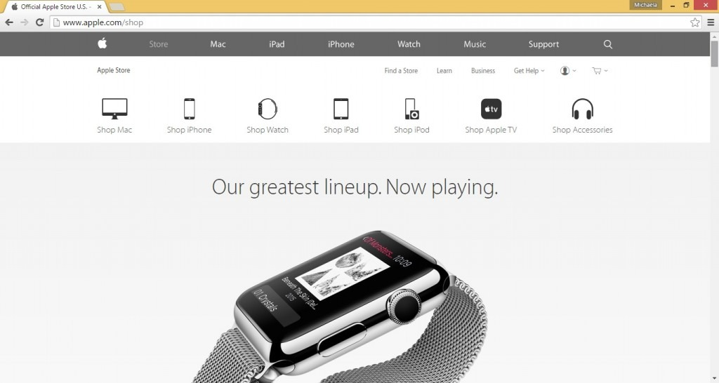 Official Apple page opens after clicking 'Store' Warning: Scam emails posing as Apple